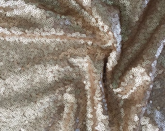 Rose Gold Glittery Sequined Seaweed Fabric Material , Champagne Fabric, Peach Sequins Fabric