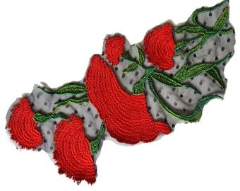Red Embroidered Flower Rose on Mesh Collar Applique Patch