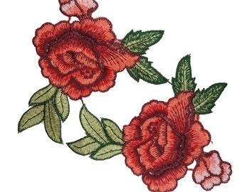2 Embroidered Roses Flowers Patches Appliques