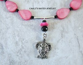 Handmade silver tone turtle necklace with hot pink shell beads, and black accents, ready to ship, gifts for girls, free gift wrapping