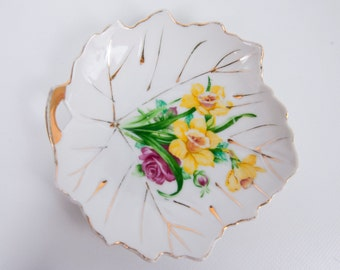 Vintage Floral Leaf Shaped Tea Bag Plate Japan Gold Trim Porcelain Hand Painted Lemon Wedge Plate