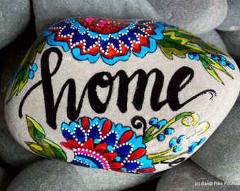 home sweet home / painted rocks / painted stones / rocks / rock art / paperweights / words in stone / nest / boho / boho decor  home decor