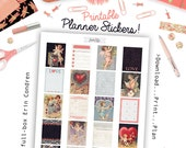 Printable Vintage Valentine Planner Stickers - Full box for Erin Condren - Digital Download
