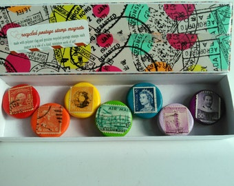 Rainbow postage stamp magnets handmade polymer clay vintage recycled art stamp magnet set philately travel history lovers gift fridge decor