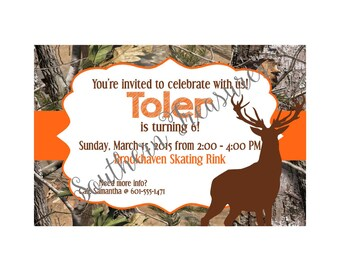 Camo Deer and Orange Invitation Template 5x7 PRINTABLE-instant download