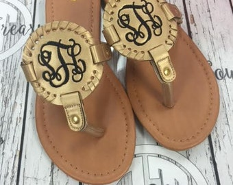 ON SALE Monogram Disc Sandal with extra discs available... purchase blank or monogrammed.