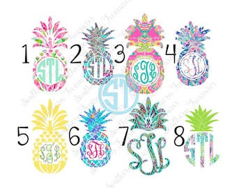 Lilly Pulitzer inspired Pineapple printed decal or heat transfer (iron on)
