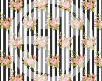 Black and White Stripe Floral printed indoor, outdoor, glitter, and metallic decal VINYL or heat transfer vinyl HTV or applique FABRIC