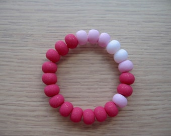 Polymer Clay Bead Bracelet- Pink White - Girls