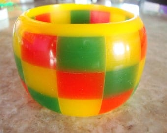 HUGE Sandwiched CHECKERBOARD Square Block LAMINATED Hand Made Orange Yellow And Green Highly Translucent Heavy Superb Resin Bangle Bracelet