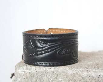Black Leather Cuff | Belt Bracelet | Men's |  Women's | Chic Leather Accessories |