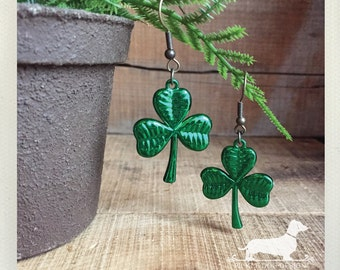 CLEARANCE! Shamrock. Dangle Earrings -- (Vintage Style, Green, Clover Earrings, Rustic, St. Patrick's Day, St. Paddy's Day, Good Luck, Cute)