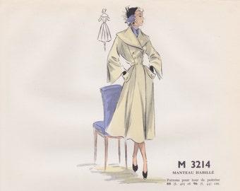 Original hand coloured illustration for French paper pattern model - 1950's Beautiful smart formal coat  # M3214