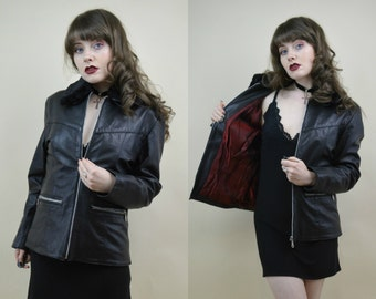 80s 90s Grunge Goth Black Leather Iridescent Red Lining Side Buckles Faux Fur Collar Zip Through Jacket Coat S