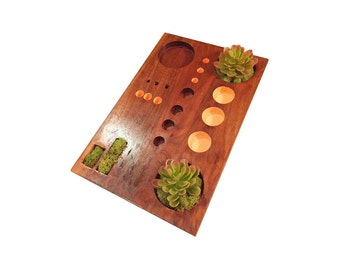 Wooden Circle Succulent Tray