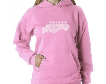 Women's Hooded Sweatshirt - Guitar Head Created out of 63 Genres of Music
