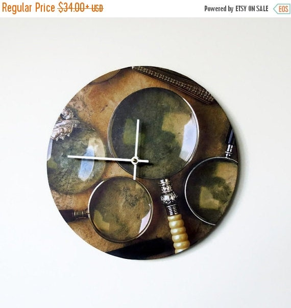 Sale Unique Wall Clock Rustic Clock Etsy Art Decor By