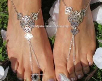 Barefoot Sandals, Silver, PAIR, Lotus Foot Jewelry, Beach Wedding Barefoot Sandals, Footless Sandals Footless Sandles, Foot, Anklets, ring