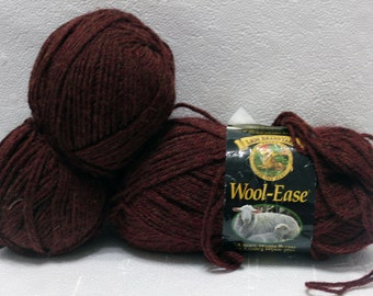 Lot of Lion Brand Yarn Wool-Ease worsted weight yarn Chestnut Heather
