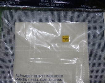 M. C. G. Textiles 18 count afghan cloth 45'' x 58'' 100% acrylic cross stitch counted