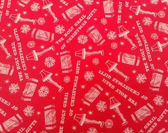Red Print Christmas Story Fabric