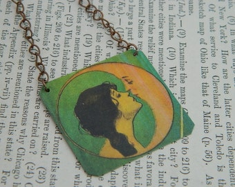 Moon necklace Victorian Lady Kissing Moon mixed media jewelry