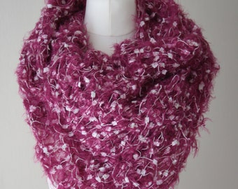 Raspberry pink with white and gold sewn (crazy wool technique) shawl FREE UK SHIPPING