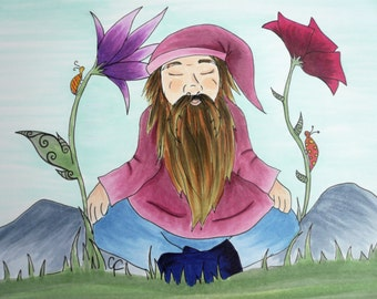 Gnome art, Original Pen and Ink drawing, Gnome meditating with flowers. 8x10 matted original art.
