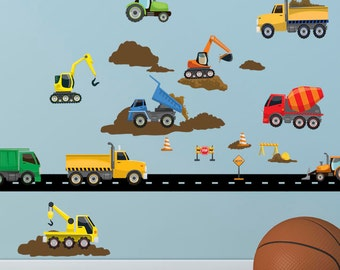 Kids Wall Decals, Boys Wall Decals, Truck & Construction Vehicle Wall Stickers