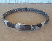 Vintage Western Horse Hair Belt, Woven Braided With Leather Accent, Silver Plated Buckle, Size 38, Unisex, 80's / 90's