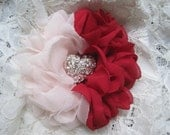 Hair Clip Red and Pink Chiffon Flower Brooch Bridal Accessories Bride Bridesmaid Prom with Rhinestone Heart Accent Choose Clip or Brooch