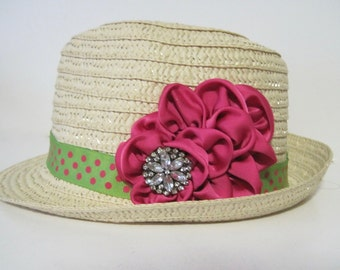 Toddler Girl Straw Fedora Hat with Lime Green and Pink Polka Dot Band and a Matching Pink Satin Flower with Rhinestone Accent Ages  3 & Up