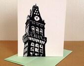Single Oakland Tribune Tower Linocut Card in Black
