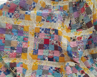 Bright Quilt - Vintage Quilt Blocks - Bed Quilt - Baby Play Matt- Twin Quilt - Cribbs Quilt