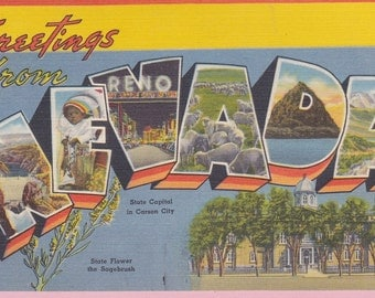 """Ca. 1950's """"Nevada"""" Large Letter Picture Postcard - 392"""