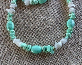 26 Inch Light Green Turquoise and Clear Quartz Necklace with Earrings
