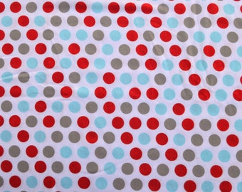 Polka dots.  fabric by the yard.  Baby boys.  Cut by the 1/2 yard (18 inches, 45.72 cm).  White, blue, turquoise, gray, red.
