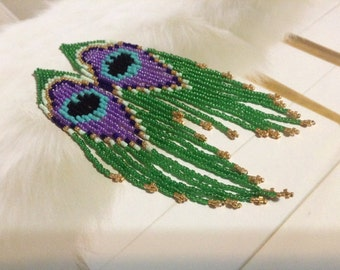 Native hand beaded long colorful Delica earrings Peacock feather aurora colors northern lights boho fun sexy earrings