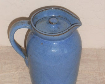 Antique Stoneware Blue Syrup Pitcher
