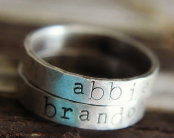 Silver Name Ring, Personalized Ring, Word Ring, Vintage Style Ring, Custom Name Ring