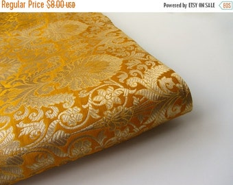 ON SALE Yellow gold flowers silk brocade fabric nr 708 - 1/4 yard | fat quarter