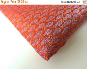 ON SALE Orange purple small pattern silk brocade India fabric nr 127  REMNANT