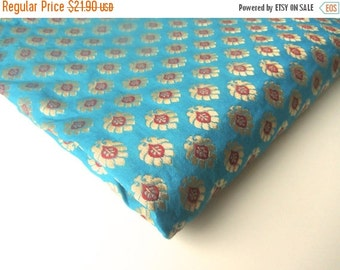 ON SALE Sea blue gold flowers tie silk India brocade fabric nr 342 REMNANT