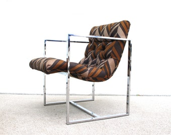 "Mid Century Chrome ""Scoop"" Lounge Chair"
