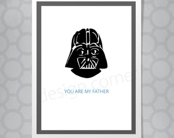 Funny Illustrated Darth Vader Fathers Day or Birthday Card