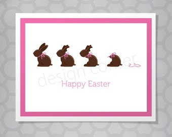 Funny illustrated Chocolate Easter Bunny Card