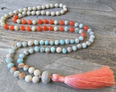 Isle of Capri- Artisan Lampwork Long Mala Style Necklace - Beachy Hand Knotted Boho Necklace