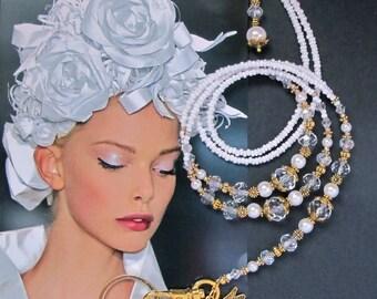 Lanyard, White pearl crystal and gold, Cheap Shipping, beaded lanyard, Key chain, ID holder, badge holder, fashion lanyard, ID clip handmade