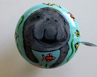 manatee bicycle bell hand painted marine life bike bell cycling art unique bike gift tropical fish beach cruiser bicycle accessories cycle