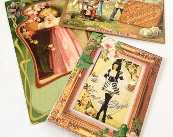 French Cards, Advertising, Clothes, Biscuits, Lefevre Card, Trade Ad,  Paper Ephemera NEW YEAR SALE